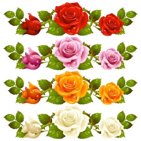 Illustration pour Vector rose horizontal vignette isolated on background  Red, pink, yellow and white flowers  - image libre de droit
