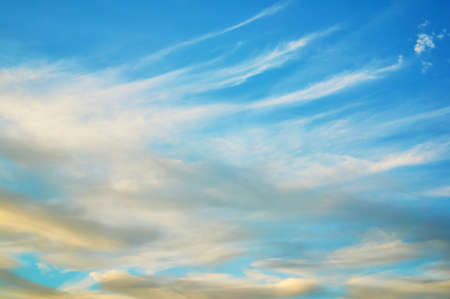 Photo for Wavy, curly, porous clouds against a blue sky. Nature Background - Royalty Free Image