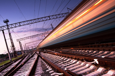 Photo pour High-speed train with motion blur in Ukraine - image libre de droit