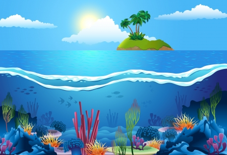 Sea landscape, with island and coral in deep water.