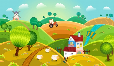 Illustration pour Rural landscape with hills, house, mill and tractor - image libre de droit
