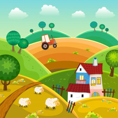 Illustration pour Rural landscape with hills, house and tractor - image libre de droit
