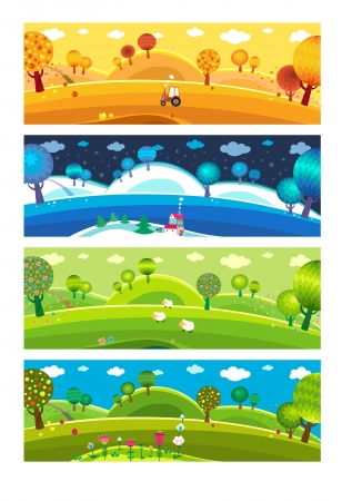 Illustration pour Four seasons: winter, spring, summer, autumn. Vector. - image libre de droit