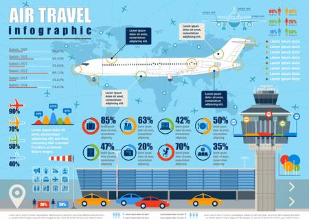Ilustración de Vector air travel infographic with airport and design elements. - Imagen libre de derechos