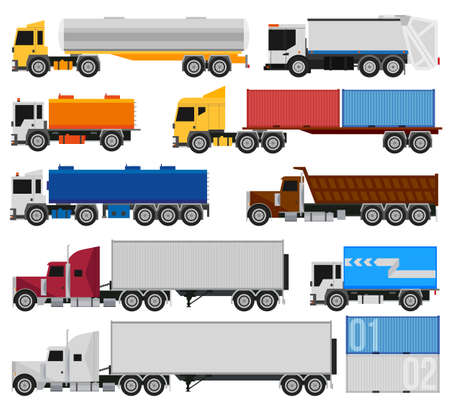 Illustrazione per Trucks and trailers on a white background. Delivery and shipping cargo trucks and semi-trucks. For infographics or design - Immagini Royalty Free