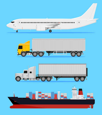 Shipping and delivery vehicles, trucks, aircraft and cargo ship on a blue background