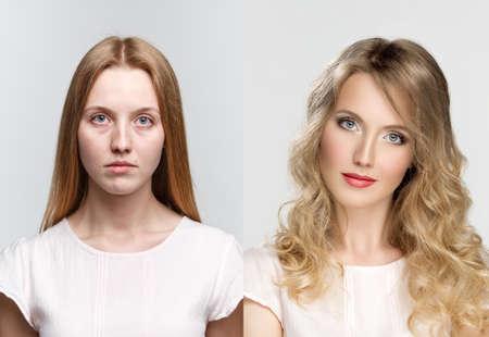 Photo pour comparison two portraits before and after makeup and retouch in photostudio - image libre de droit