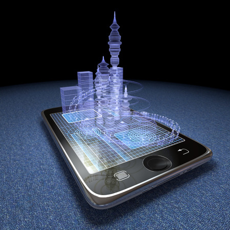 Photo for Digital tablet and futuristic town as progress concept background - Royalty Free Image