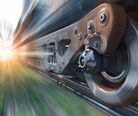 Foto per Industrial rail train wheels closeup technology perspective conceptual background - Immagine Royalty Free