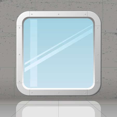 Illustration pour Futuristic big window in concrete monolithic wall - image libre de droit