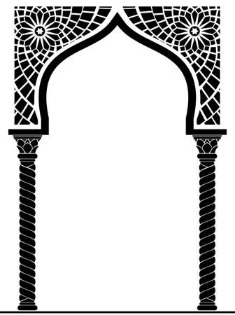 Illustration for Architectural arch in Arabic or other Eastern style, entrance, doorway - Royalty Free Image
