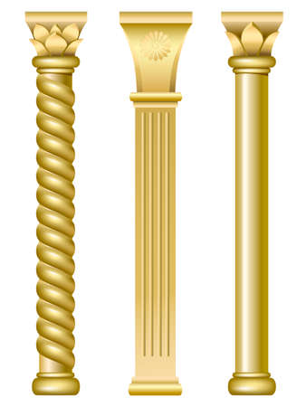 Illustration for Three gold support columns in the style of oriental traditional architecture - Royalty Free Image