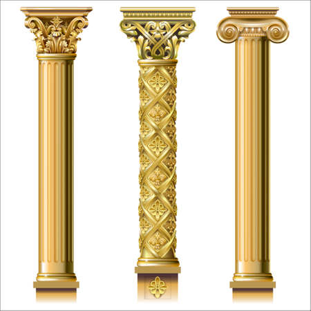 Illustration for Set of classic gold columns in different styles - Royalty Free Image