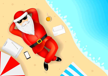 Illustration pour Santa Claus resting and lying on a tropical beach. The list of gifts. The ocean and the sand with the waves - image libre de droit