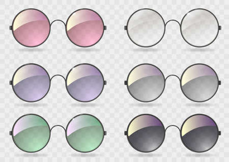 Ilustración de Set of round glasses with different lenses. Retro style. Hippie. Vector graphics with transparency - Imagen libre de derechos