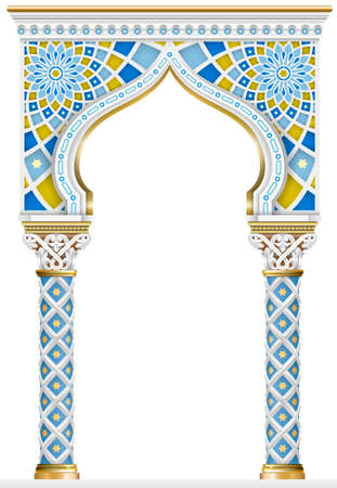 Ilustración de The Eastern arch of the mosaic. Carved architecture and classic columns. Indian style. Decorative architectural frame in vector graphics. - Imagen libre de derechos