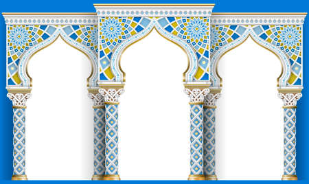 Illustration for The Eastern arch of the mosaic. Carved architecture and classic columns. Indian style. Decorative architectural frame in vector graphics. - Royalty Free Image