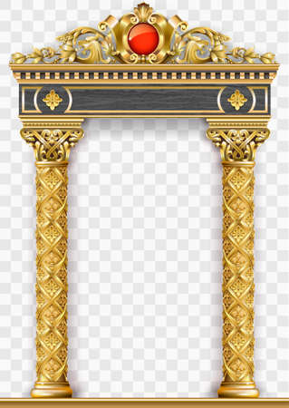 Illustration for Golden luxury classic arch with columns. The portal in Baroque style. The entrance to the fairy Palace - Royalty Free Image