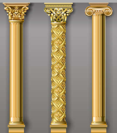 Illustration for Set of classic gold columns in different styles. Vector graphics - Royalty Free Image