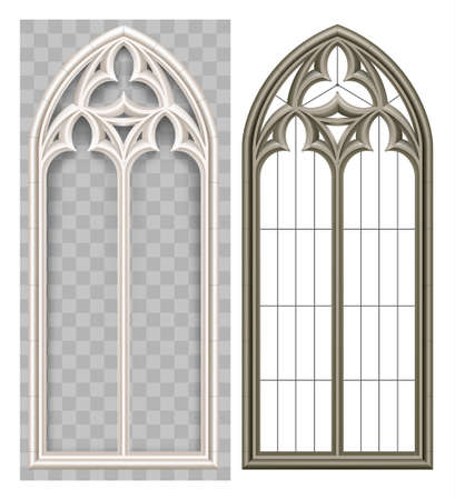 Ilustración de Realistic Gothic medieval Lancet window and stone arch with a shadow. Transparent shadow. Background or texture. Architectural element - Imagen libre de derechos