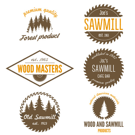 Illustration pour Set of logo and logotype elements for sawmill, carpentry and woodworkers - image libre de droit