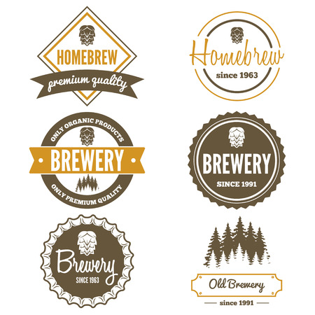 Photo pour Set of vintage logo or logotype elements for beer, beer shop, home brew, tavern, bar, cafe and restaurant - image libre de droit