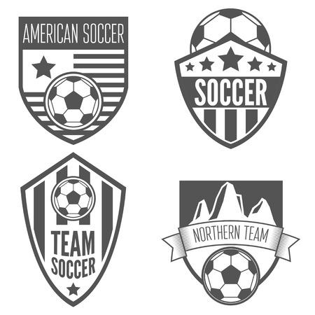 Ilustración de Collection of vintage soccer football labels, emblem and logo designs - Imagen libre de derechos