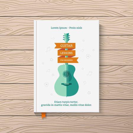 Illustration for Template book cover. Book on guitar lessons for beginners. - Royalty Free Image