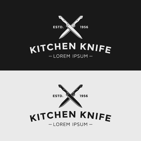Illustration pour Vintage kitchen knife. Black and white silhouette. - image libre de droit