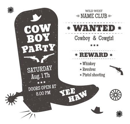 Illustration pour Cowboy party poster or invitation in western style. Cowboy boots silhouette with text. Vector illustration - image libre de droit