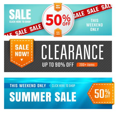 Ilustración de Set of sale banners design. Vector illustration - Imagen libre de derechos