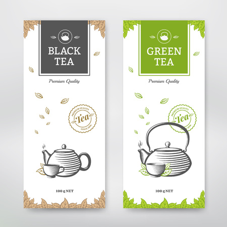 Illustration for Black and Green Tea design package. Vector set - Royalty Free Image