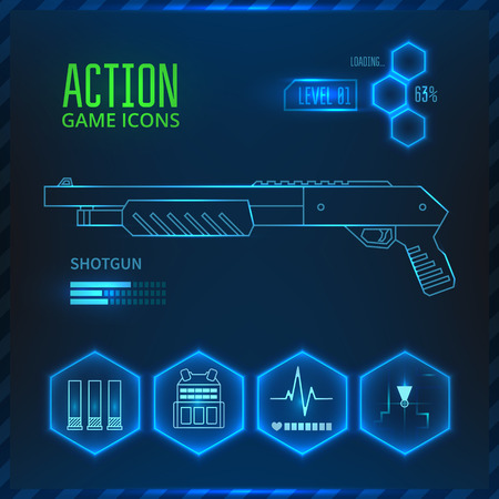 Illustration pour Icons set weapons for the game in the genre of shooter or action. Shotgun icon.  - image libre de droit