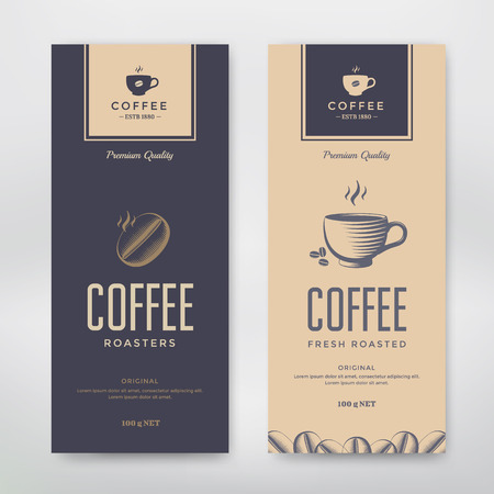 Ilustración de Coffee Packaging Design. Vector template package for your design. - Imagen libre de derechos