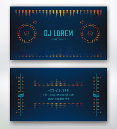 Illustration pour Business card for Dj or music studio, night club. Vector template with design elements dj control surface. - image libre de droit