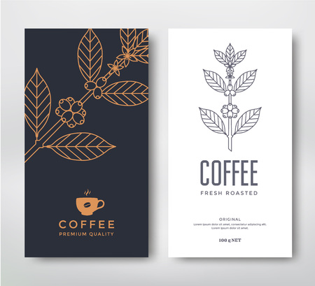 Illustration for Packaging design for a coffee. Vector template. Line style vector illustration. Coffee branch. - Royalty Free Image