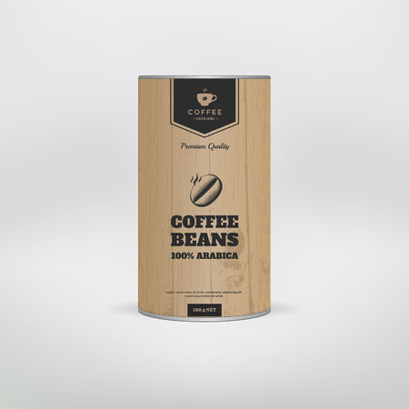 Illustration for Mockup coffee packaging template. Tin package. Vector illustration - Royalty Free Image