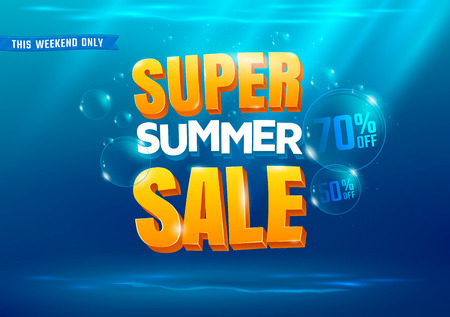 Illustration for Super summer sale poster with sea background. - Royalty Free Image