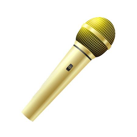 Illustration pour Karaoke golden microphone isolated on white background. - image libre de droit