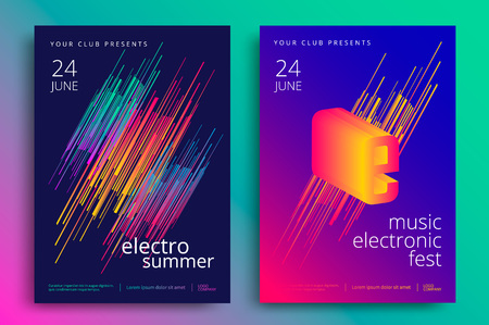 Illustration pour Electronic music fest and electro summer poster. Modern club party flyer. Abstract gradients music background. - image libre de droit