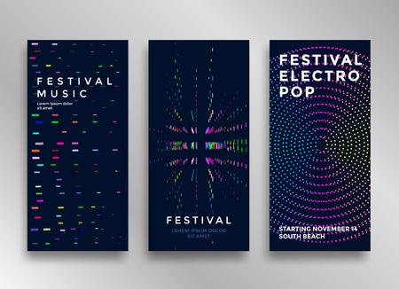 Illustration pour Electronic music festival minimal poster design. Modern colorful dotted lines background for flyer, cover. Vector illustration - image libre de droit