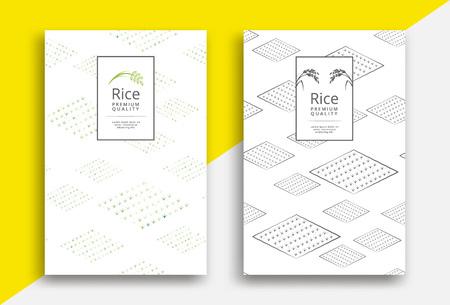 Ilustración de Rice packaging template design with field pattern - Imagen libre de derechos