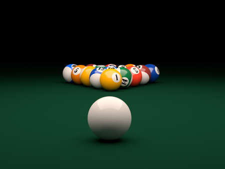 3d render of balls on a pool  billiards  green table