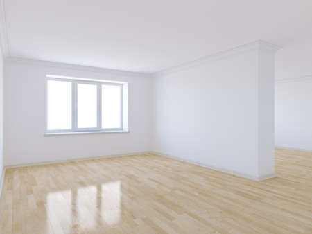 Foto de 3d render of empty room with wooden floor - Imagen libre de derechos