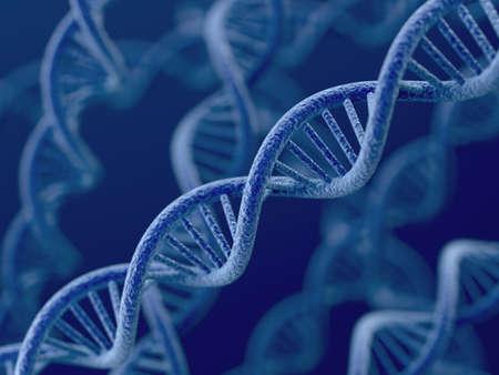 Foto de 3d render of DNA on blue background  - Imagen libre de derechos