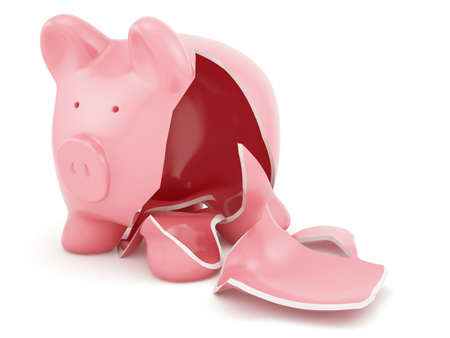 Photo pour 3d render of empty broken piggy bank  - image libre de droit