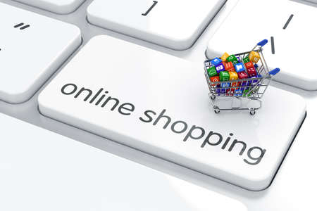 Photo for Shopping cart isolated on the computer keyboard. Online shopping concept  - Royalty Free Image