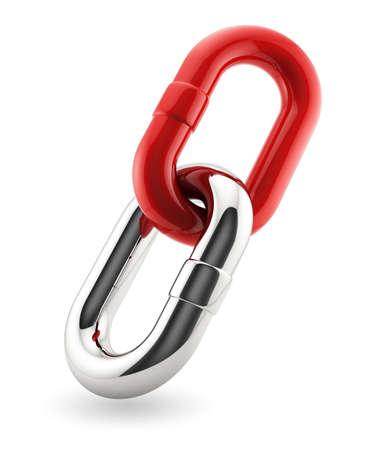 Photo pour 3d render of red and chrome chains. Bisiness concept - image libre de droit