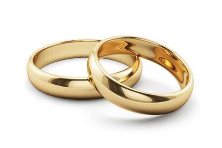Foto de 3d render of golden rings isolated on white background - Imagen libre de derechos