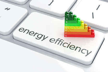 Photo for 3d render of energy efficiency rating on computer keyboard - Royalty Free Image